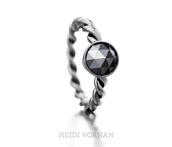 Handmade solitaire ring with rose cut round black by HeidiVornan