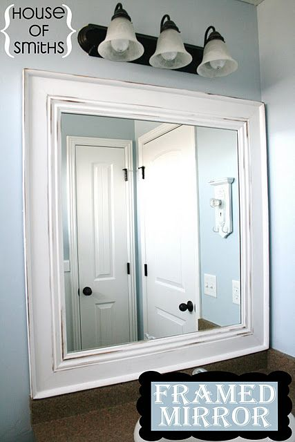 framed my mirror but without having to miter the corners . I went to home depot picked out primed door molding and had them cut to my needed size, for the corners I bought medallions. I used liquid nails as well but glued together right to the mirror . Tape to hold while drying.