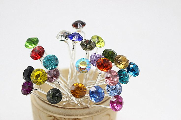10pcs Rhinestone Brides wedding Hair Accessories Simple crystal Hair clips Women Wedding Hair Jewelry Hairpins (5.8 mm) H-426