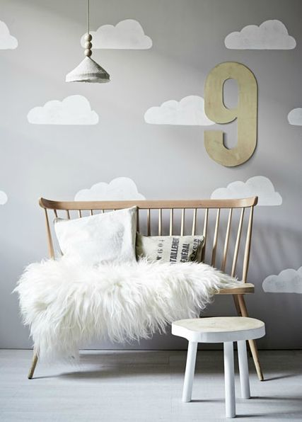 sheepskin throw and Scandinavian bench