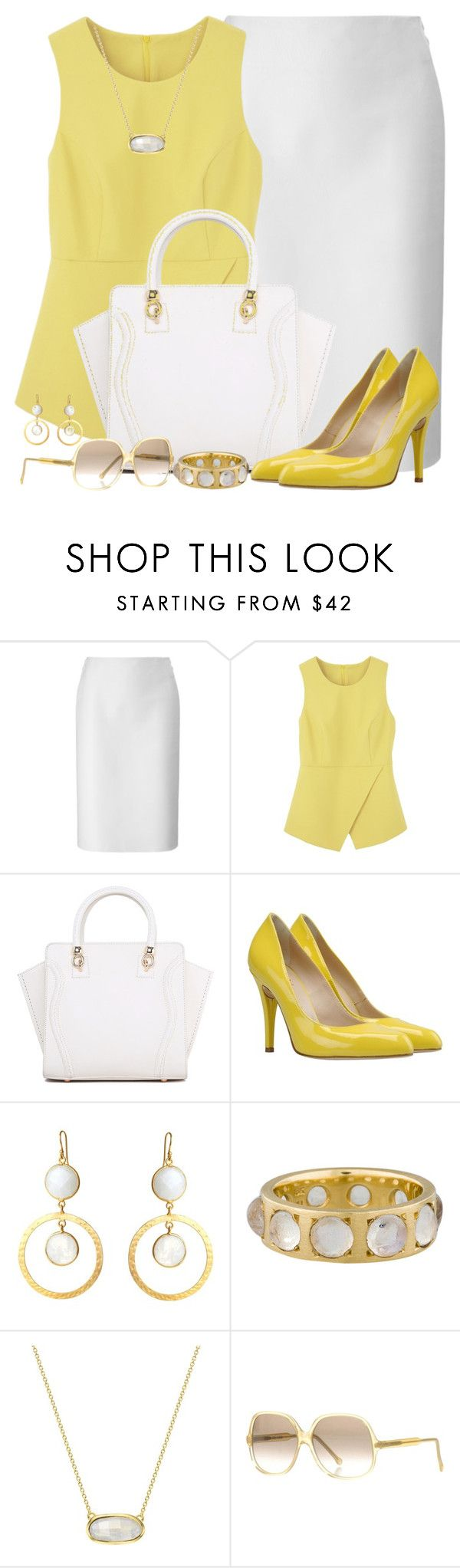"""""""Origami Peplum Top"""" by brendariley-1 ❤ liked on Polyvore featuring Lucas Nascimento, George J. Love, Feather & Stone, Irene Neuwirth, Monica Vinader and Cutler and Gross"""