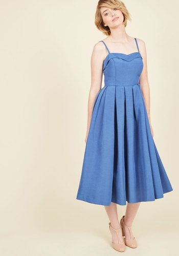 Convivial Connection Dress in Lapis. By flaunting this ModCloth-exclusive dress, you command the attention of everyone present at the gala. #gold #prom #modcloth