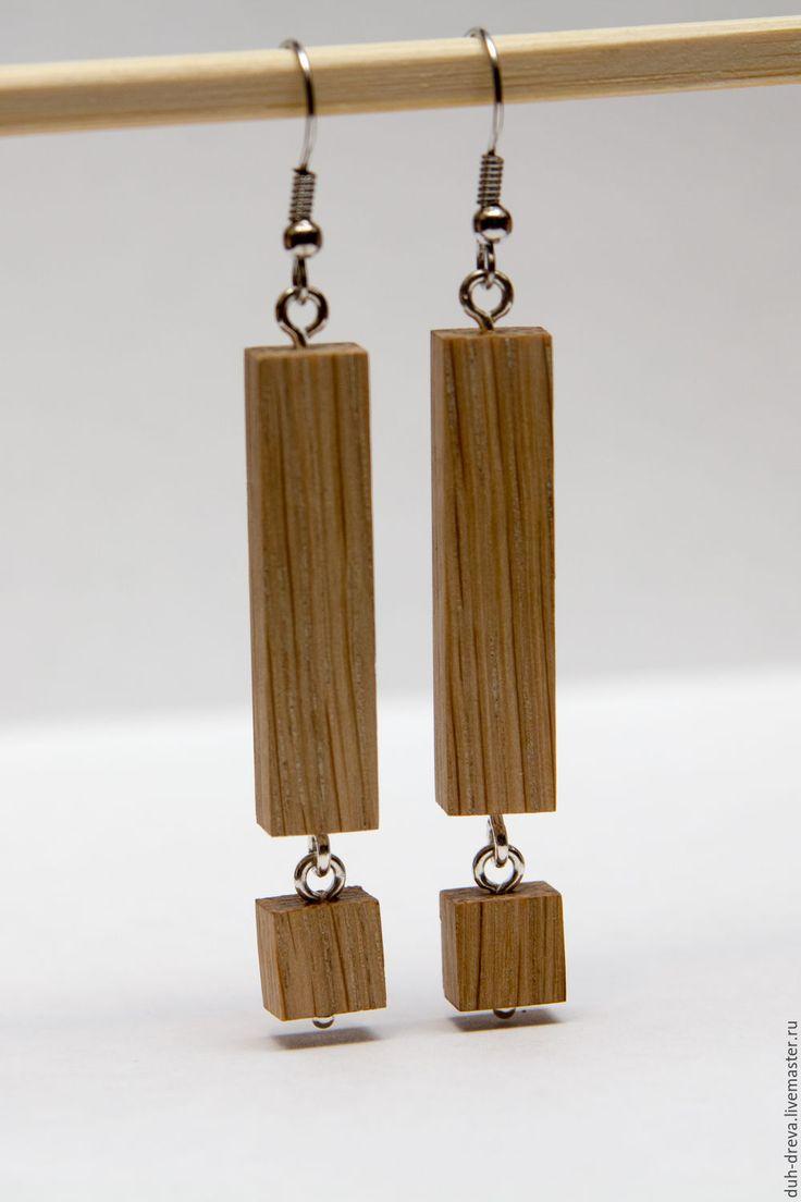 Купить Серьги из дерева дуб - коричневый, серьги, серьги из дерева, деревянные серьги, серьги из дуба