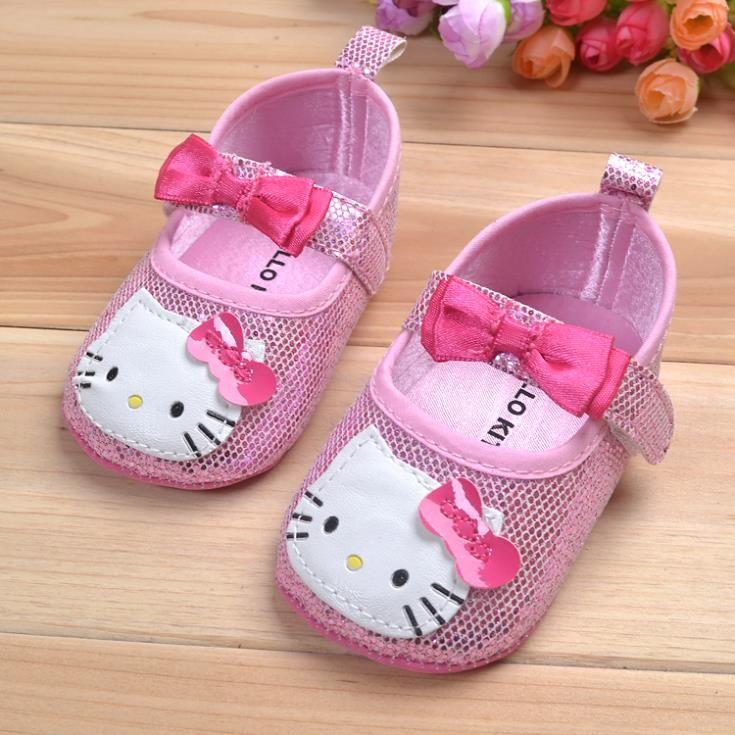 2014 tatlı hello kitty yenidoğan bebek yay ayakkabı kızlar prenses pembe bling bling prewalker anti- kayma ayakkabı bale elbise düz ayakkabı(China (Mainland))