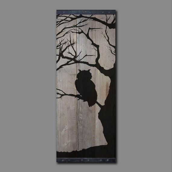 Grange récupéré bois Wall Art Silhouette de hibou dans arbre