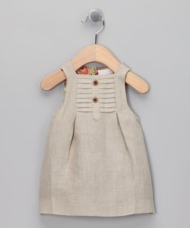 Beige Linen Dress - Infant by Yo Baby I love zulily. Amazing daily deals for moms, babies and kids - up to 90% off! Sign up to see what great products and brands are featured today. http://www.zulily.com/invite/elobos512