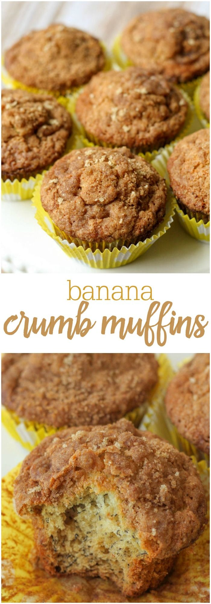 Banana Crumb Muffins - delicious banana muffins topped with a crumbly brown sugar and cinnamon topping! So good!!