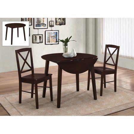 3 piece cherry u0026 white wood round kitchen dinette drop leaf dining table u0026 2 side