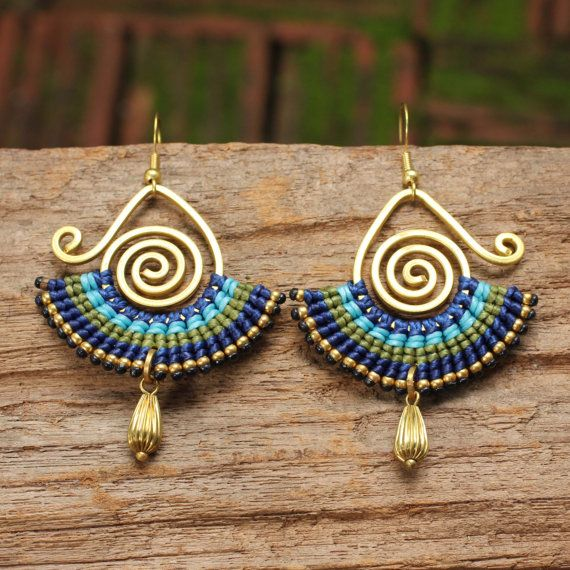Shaped brass and woven cotton earrings with brass by cafeandshiraz, $42.00