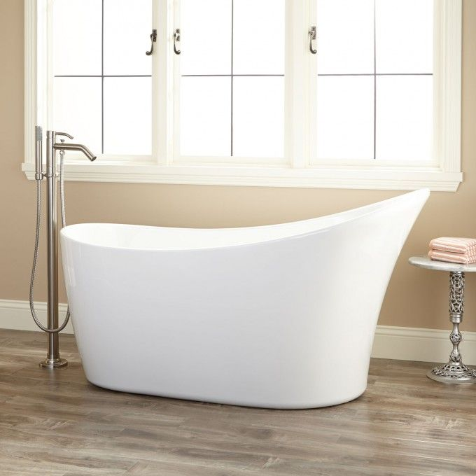 "$1,320 55"" Dimensions: 55-1/2"" L x 26-1/2"" W (front to back) x 29-3/4"" H (± 1/2""). Water capacity without overflow: 52 gallons Demler Acrylic Freestanding Tub"