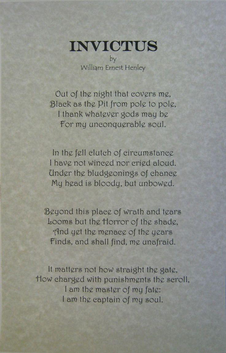 Amazon.com: Invictus Poem by William Ernest Henley Printed ...