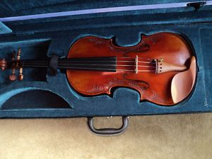 VIOLIN 4/4 FULL SIZE CARVED INLAY SOLID SPRUCE TOP ,MAPLE SIDES