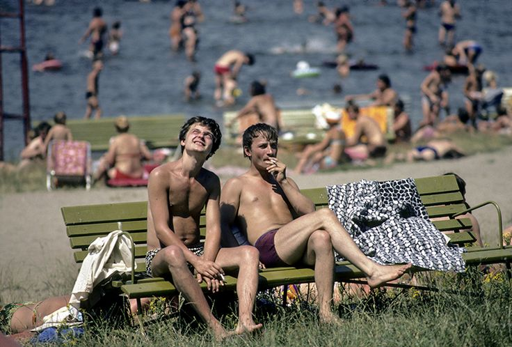 A swimming area on the outskirts of Wroclaw, summer 1982, photo by Chris Niedenthal / Forum