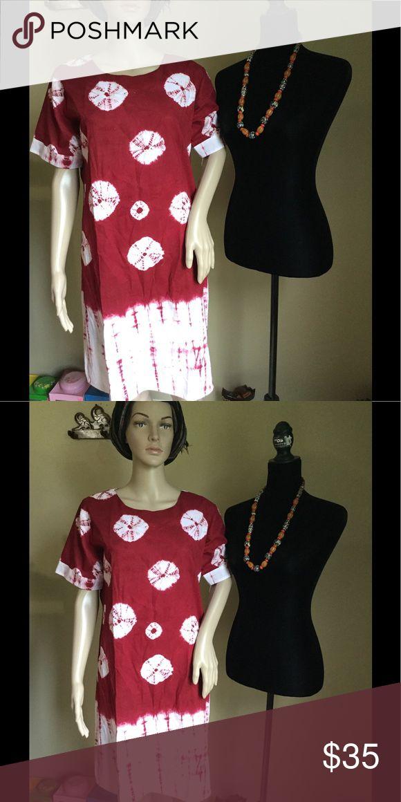 Dress Short sleeve, loose dress, material cotton, batik Shibori Dresses Mini