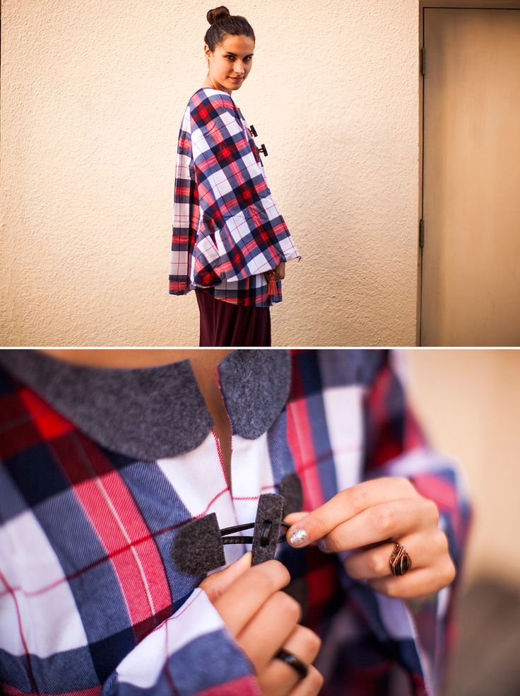 Turn a flannel bed sheet into a chic collared cape with this easy tutorial.