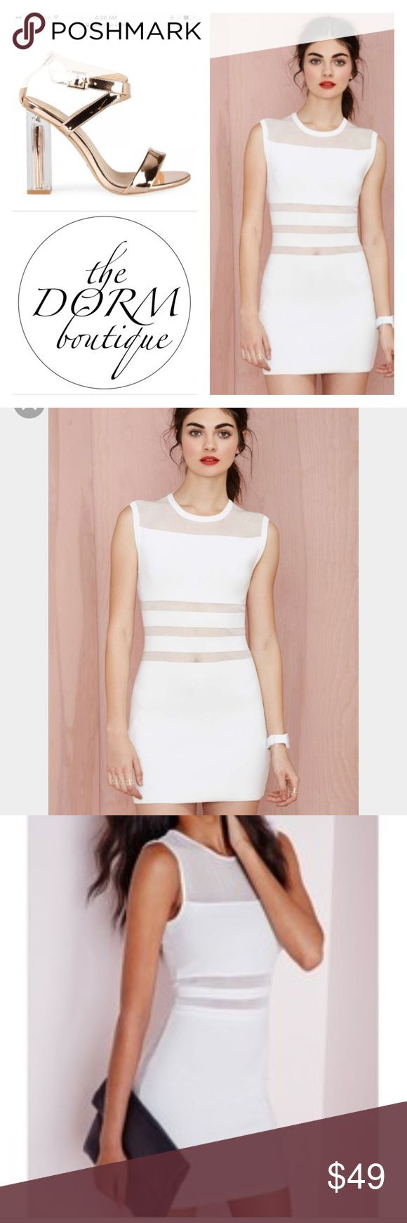 NASTY GAL SEE NO EVIL MESH BODYCON DRESS NAST GAL THE SEE NO EVIL BODYCON WITH SEMI SHEER SHIMMERING STRIPE DETAIL. SCOOP NECKLINE. STRETCH FABRIC.  RETAIL 88.00 Nasty Gal Dresses Mini