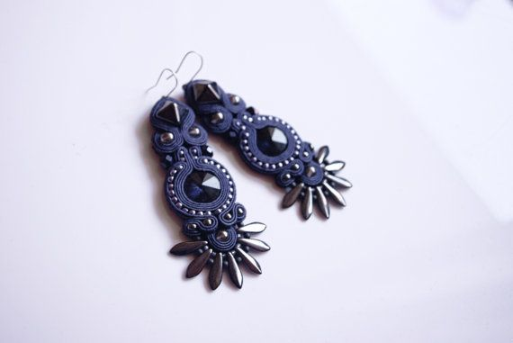 Iridescent Soutache Earrings With Hematite And by MystereSoutache