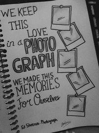 Хорршая идея для фотоальбома. Выписывать тексты песен из любимых групп,таким образом украшать фотоальбом