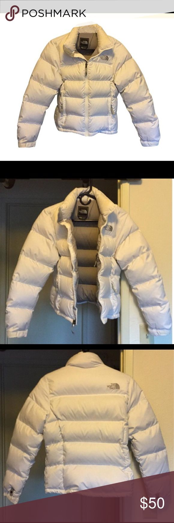 Winter Coat Bright white 700 count feather,  warm North Face coat with light grey lining. The North Face Jackets & Coats Puffers