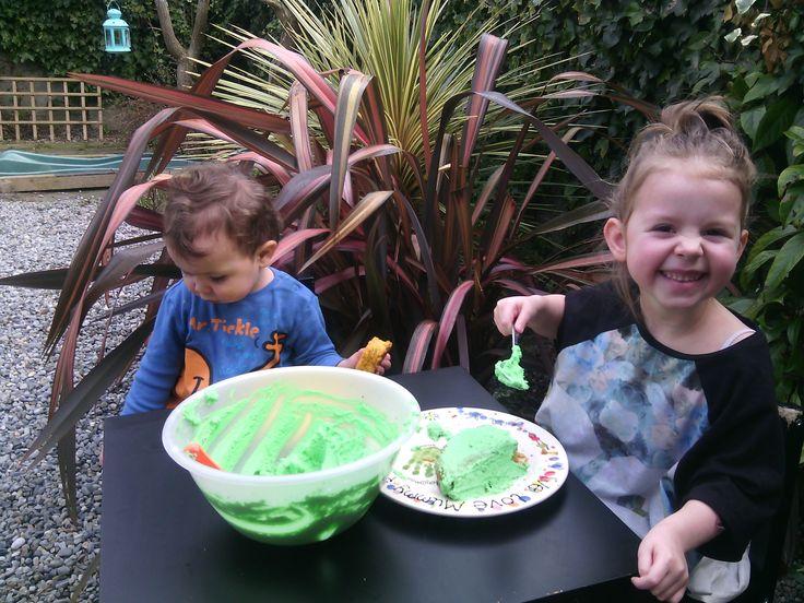 Busy green little people