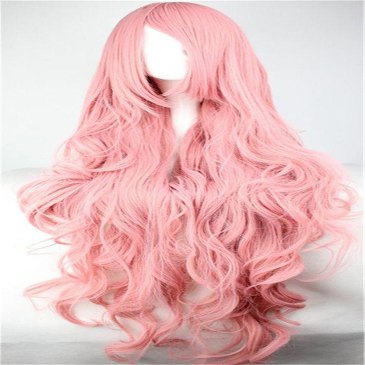 Vrouwen haar pruiken harajuku ombre pastel lange roze golvend krullend pruik schuine pony 100 cm pruik cosplay hittebestendige synthetische pruiken