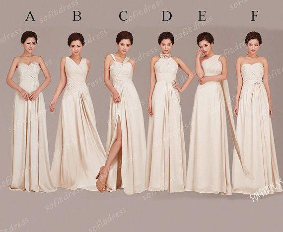 champagne bridesmaid dresses, chiffon bridesmaid dress, prom dress bridesmaid, long bridesmaid dress, custom bridesmaid dress , BE0223 on Etsy, $119.00