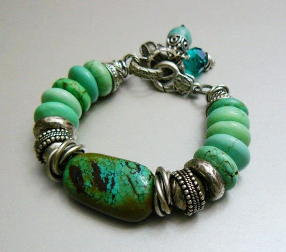 Magnesite and Turquoise Charm Bracelet with Silver by pmdesigns09