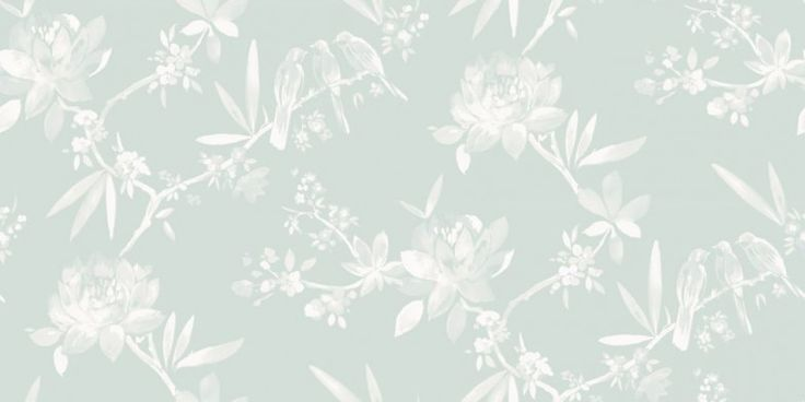 Camille Duckegg (97862) - Albany Wallpapers - An elegant, all over wallpaper design featuring small birds perched on oriental styled tree's. Shown here in metallic duckegg and off white. Other colourway are available. Please request a sample for a true colour match. Paste-the-wall product.
