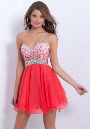 2014 Beaded One Shoulder Short Persimmon Homecoming Dresses
