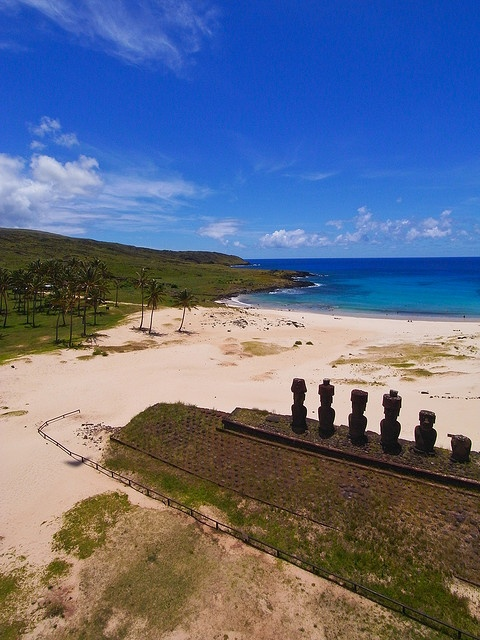 Anakena Beach on Easter Island - aerial kite photography - this is awesome