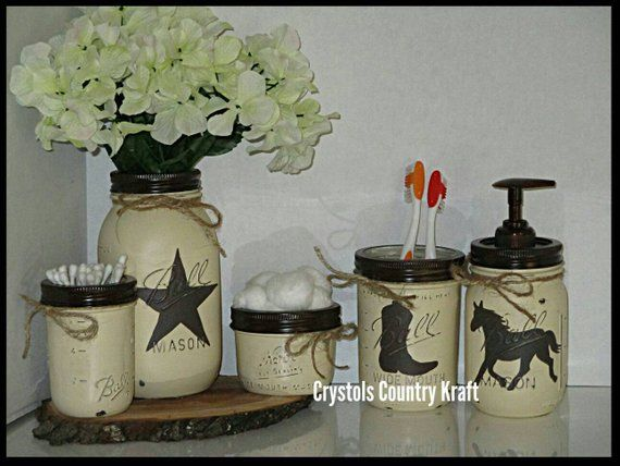 Western Bathroom Set Horse Soap Jar Boot Toothbrush Jar Western Star Vase Mason Jar Bathroom Set Western Star Trash Can Western Decor In 2020 Western Bathroom Sets Mason Jar Bathroom Western Bathrooms