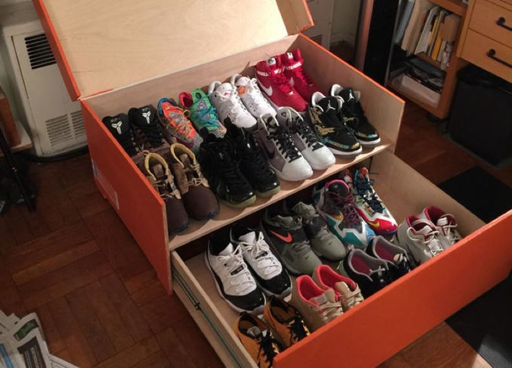 "Albert Hei (who also goes by ""The Professor"") has hand made a giant sneaker  storage box in the shape of ..."
