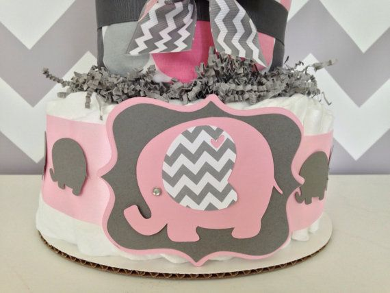chevron elephant baby shower diaper cake pink and gray centerpiece on etsy