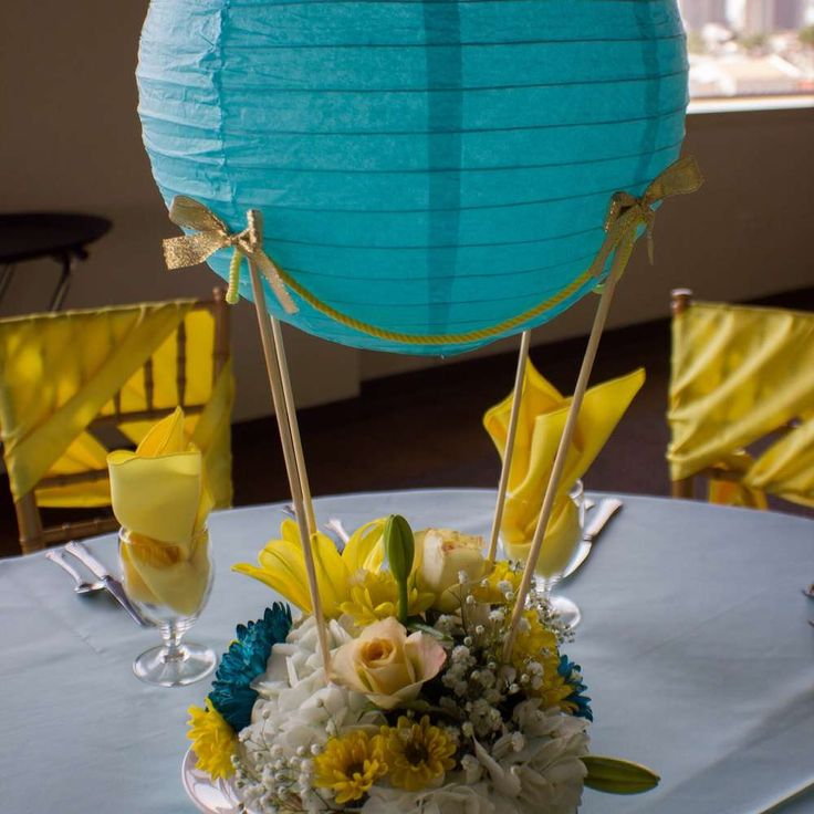 Fun centerpieces at a hot air balloon baby shower birthday party! See more party ideas at CatchMyParty.com!