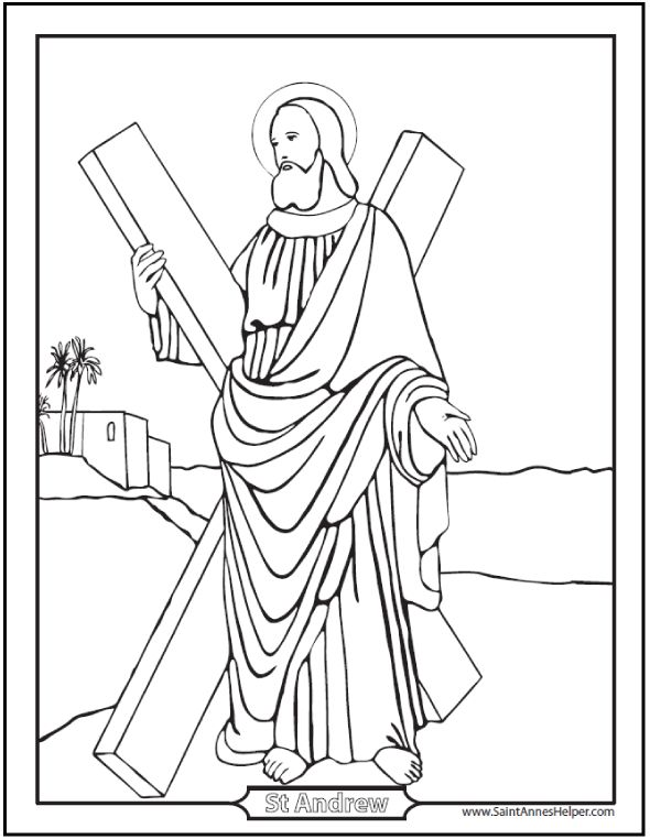 Printable and interactive Saint Andrew Coloring Page: St. Andrew the Apostle patron saint of Scotland.