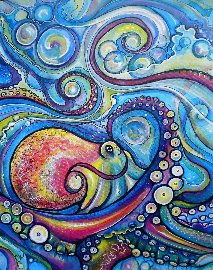 Emphasis created by the warm reds and yellows of the octopus against the cooler blues and greens of the ocean water.   Colleen Wilcox Art - recent-artwork