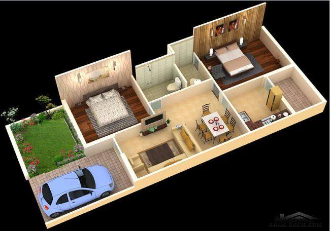 خريطة بيت صغير المساحه دور واحد 72 متر مربع 2 غرفة نوم Duplex House Design Indian House Plans House Layout Plans