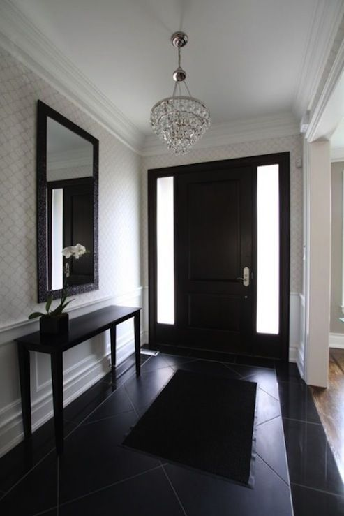 Suzie: Jodie Rosen Design - Contemporary foyer design with moorish tiles wallpaper, espresso ...