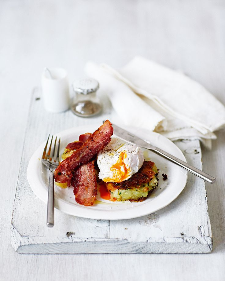 Forget about rösti, we're all about these potato and cabbage cakes served alongside crispy bacon and topped with perfectly poached eggs. Breakfast, lunch or dinner this recipe is always a winner.