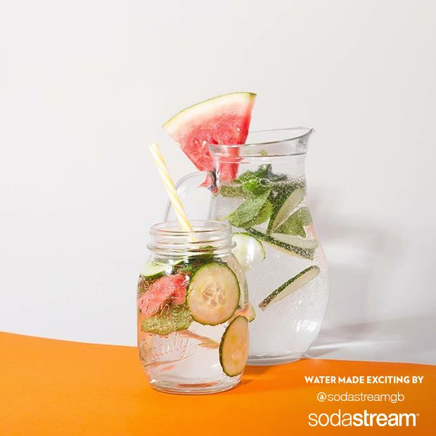 In search of a new SodaStream sparkling water drink recipe? Try this one: simply mix watermelon, cucumber, and mint leaves for the perfect Spring drink that's both refreshing and yummy!