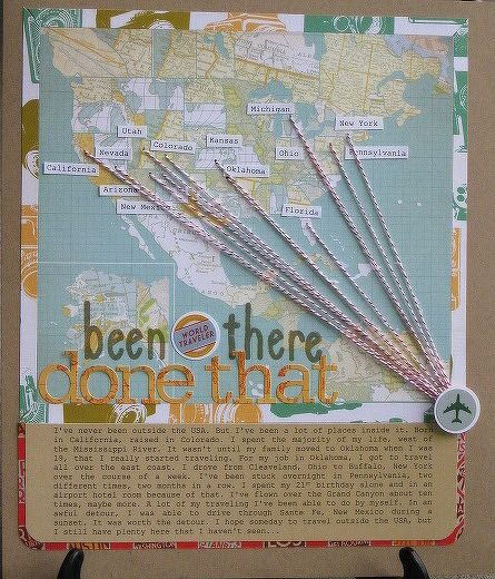 Second page in, have world map, add to it as the scrapbook goes on