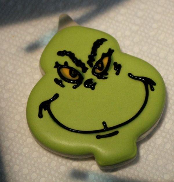 Grinch Cookies using Christmas Ornament Cookie Cutter - Sweet Sugar Belle