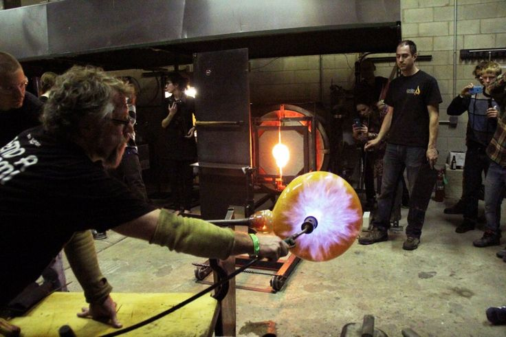 No longer just for college stoners, glass blowing can even be a team building event for you and your colleagues