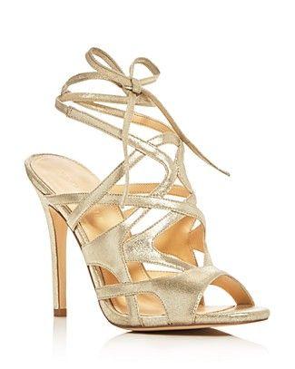 IVANKA TRUMP Hesther Metallic Ankle Tie High Heel Sandals