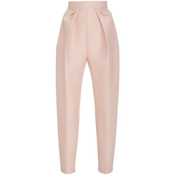 DELPOZO HIghwaisted Pleated Trousers (£750) ❤ liked on Polyvore featuring pants, delpozo, pink crop pants, high rise pants, cropped pants, high waisted trousers and high-waisted pants