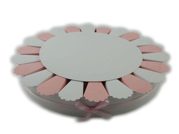 Torta bomboniera 22 fette rosa bianche