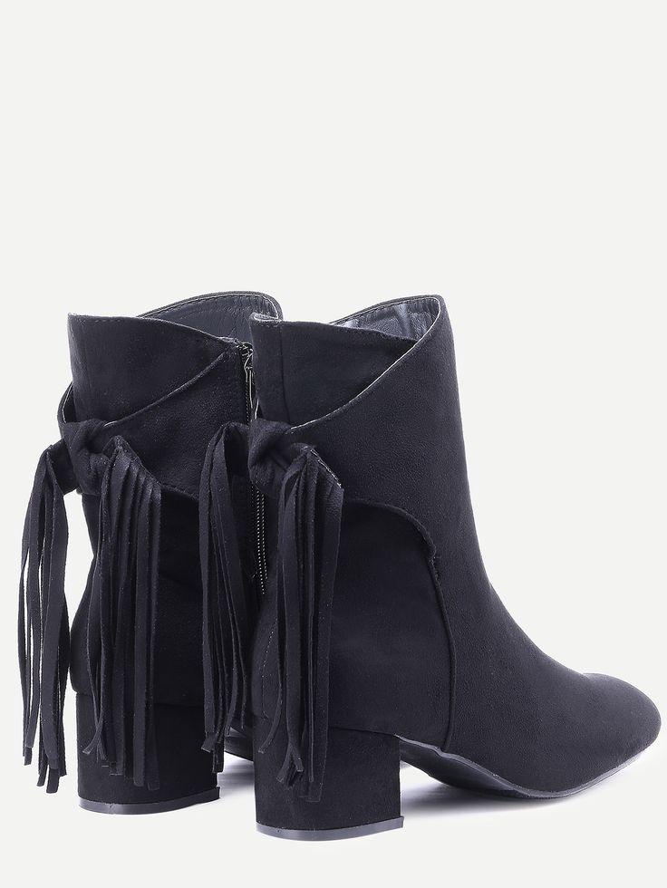 Чёрные замшевые ботинки с бахромой на каблуках