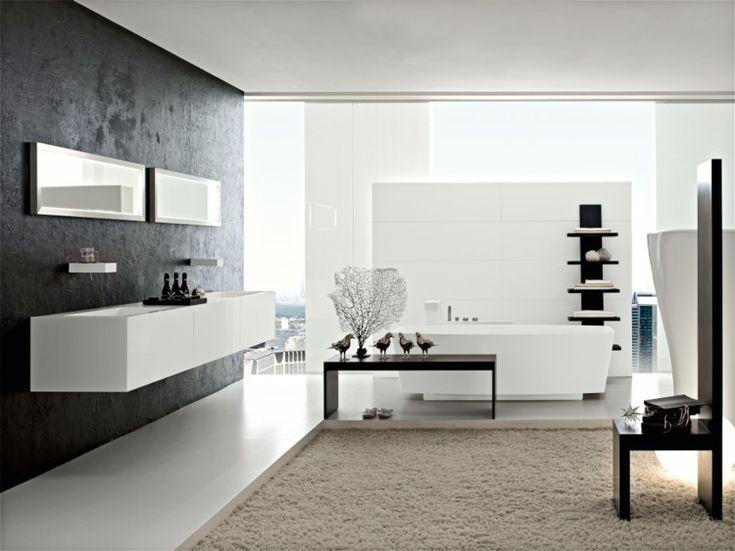 Badezimmer In Schwarz Beige Weiß Minimalistish Schwarzer Regal #bathroom  #style
