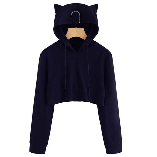 Autumn 2018 Harajuku Crop Top Sweatshirt Hoodies Women Streetwear Cute Ear Hoodie Cropped Tumblr Korean Style Woman Clothes