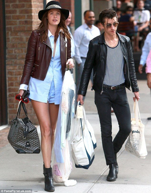 Chivalrous: Arctic Monkeys rocker Alex Turner helped his model girlfriend Taylor Bagley move apartments in New York City on Thursday